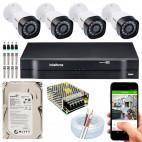 Kit Intelbras 4 Canais + 4 Cameras + Fonte + Cabo + HD + Conectores