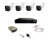 Kit TWG DVR 1080N 4 Canais + 4 Cameras Full Hd + Fonte + Cabo + Conectores